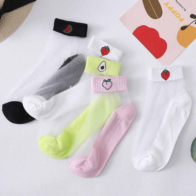 Women Transparent Glass Fiber Ankle Socks Girls Cute Peach Strawberry Avocado Fruit Print Cotton Bottom Short Tube Hosiery