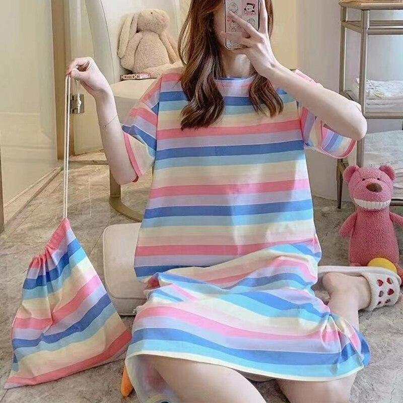 Verão feminino plus size manga curta pijamas vestido dos desenhos animados pato arco-íris cenoura impressão camisola midi longo solto pijamas