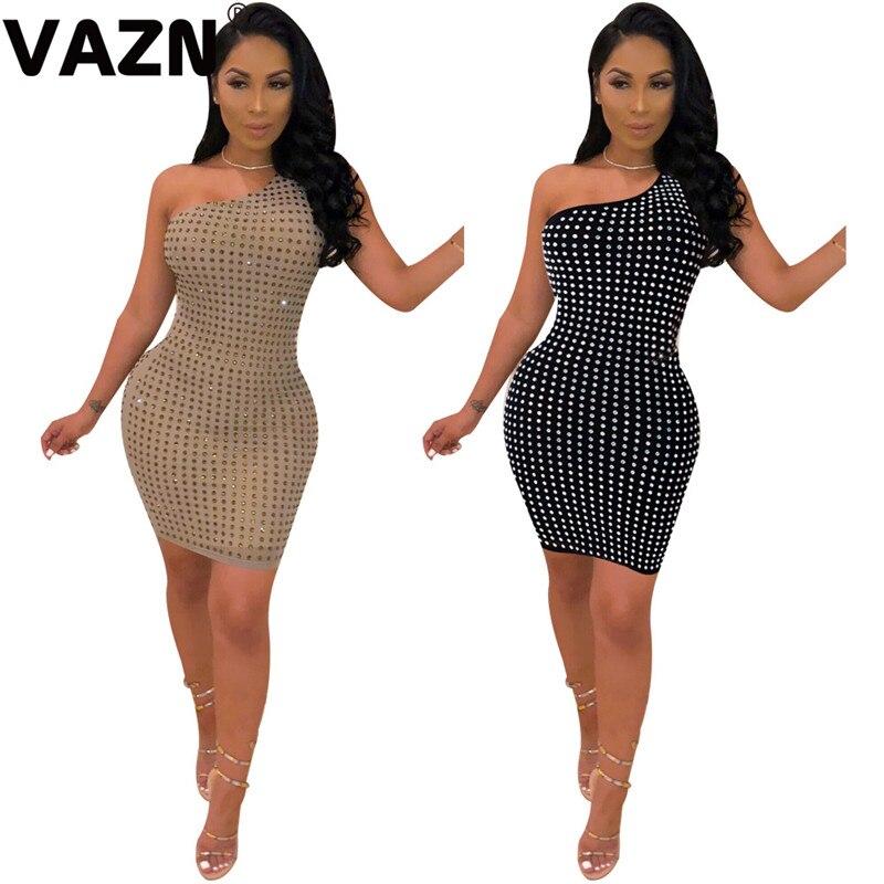VAZN verano chic 2020 sexy señora negro albaricoque sólido mini vestido un hombro sin tirantes sin espalda diamantes nuevo Delgado sexy club vestido