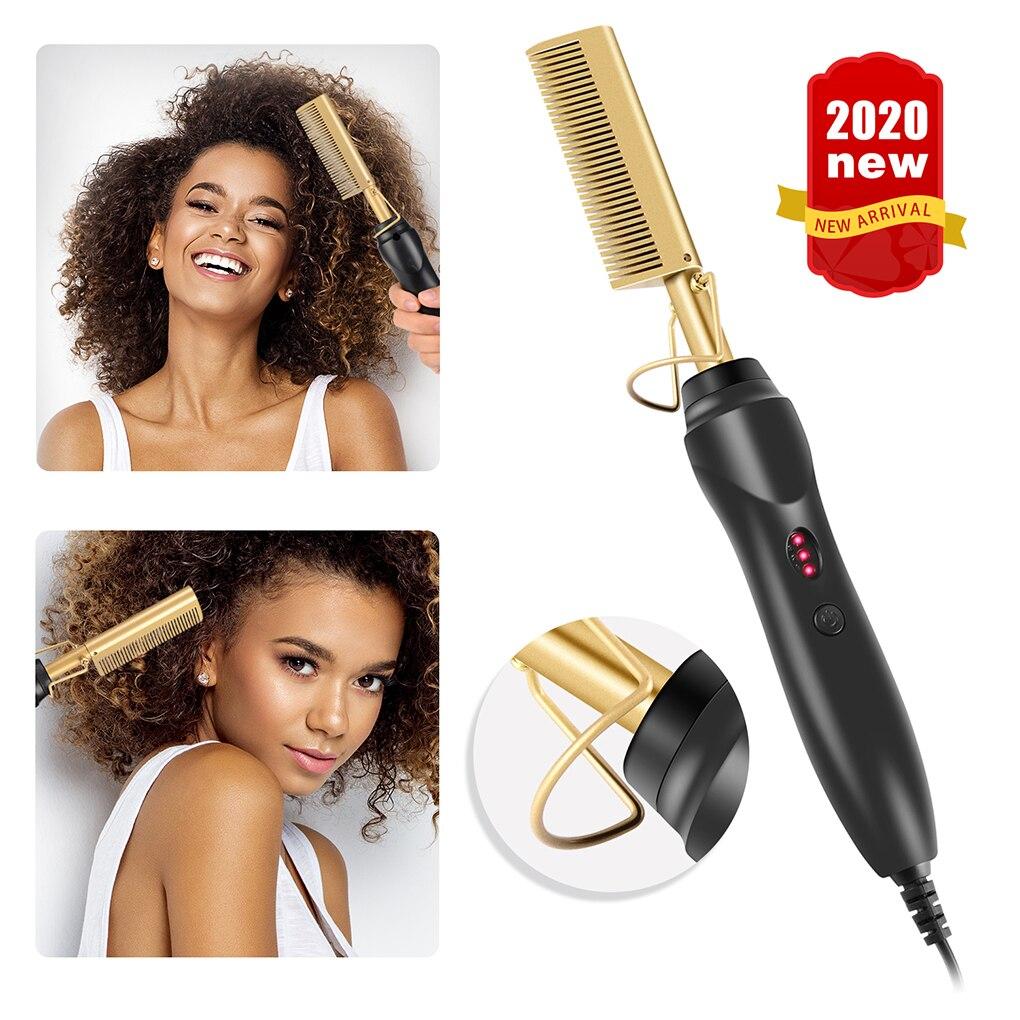 alisador de cabelo multifuncional plano molhado seco duplo uso escova pente de cabelo