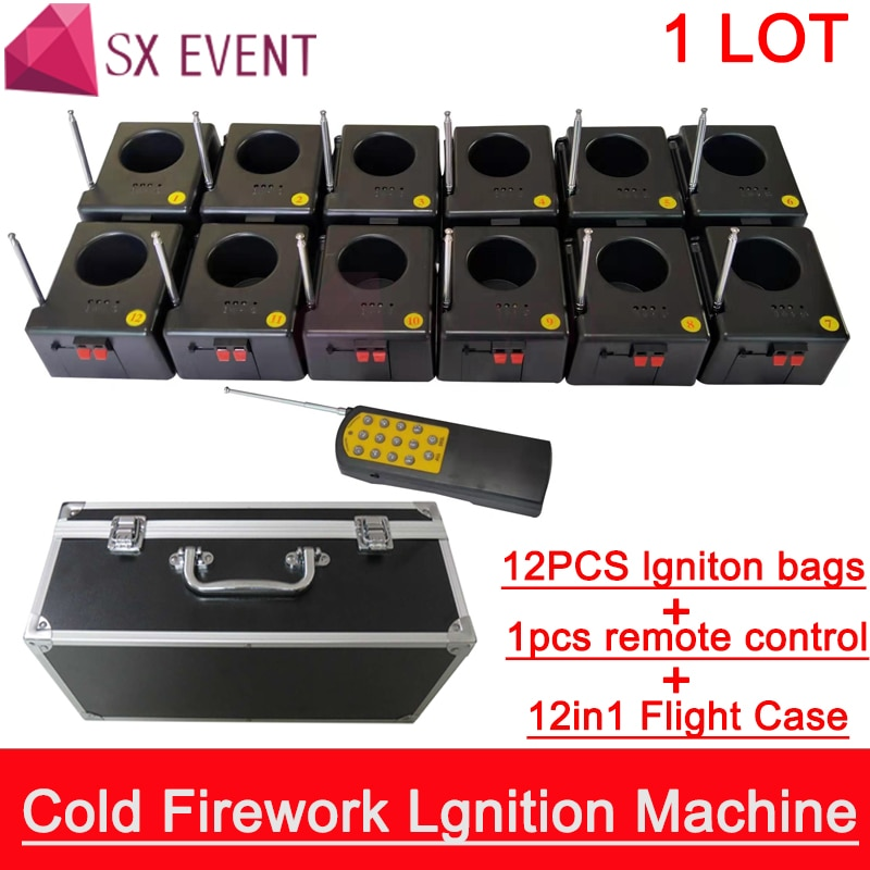 Cold Firework Ignition Machine Wireless Remote Pyrotechnics 12 Cues Receiver Stage Equipment Fountain System 1case 12 Base Firin