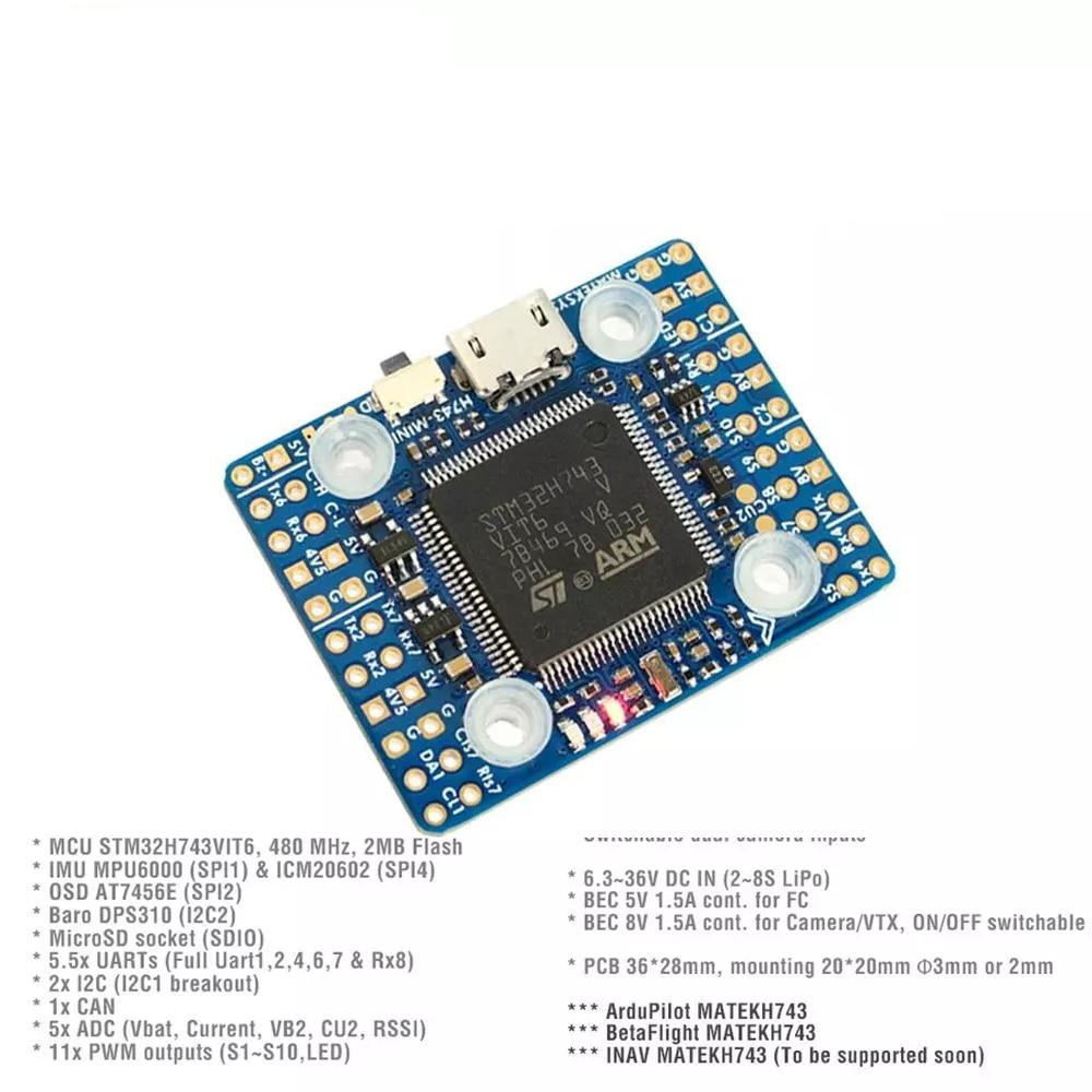 20x20mm Matek H743-MINI H743 Flight Controller STM32H743VIT6 ICM20602 Built-in OSD DPS310 PDB for RC FPV Racing Drone Parts enlarge
