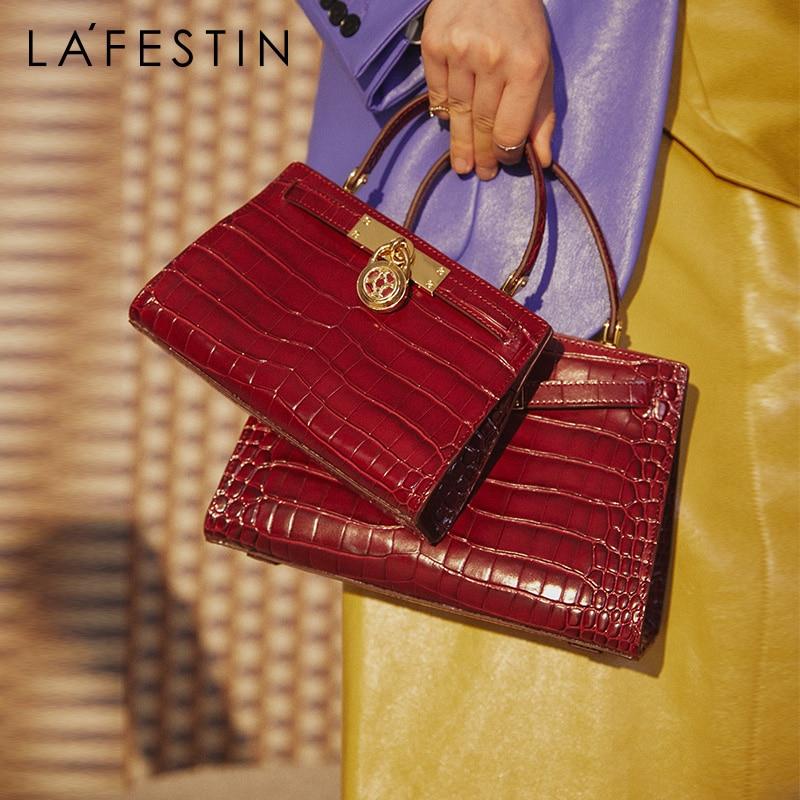 LAFESTIN 2020 new women's messenger handbag fashion retro shoulder bag atmospheric platinum bag