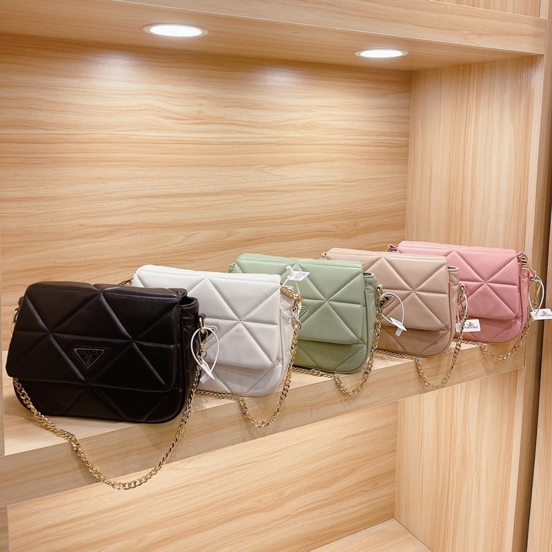 Brand Designer Fashion Women's Silver Chain Small Flap Crossbody Bag 2021 Shoulder Handbags Nylon Hobo Bags Borse Da Donna