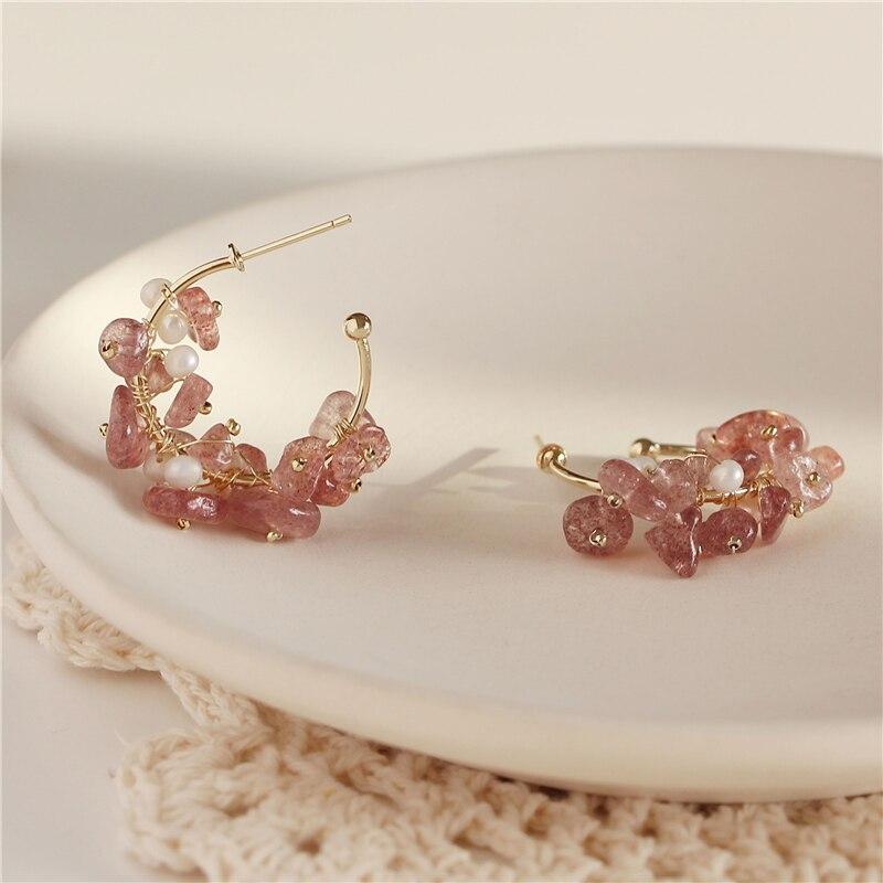 AOMU Pink Korean Brand New Design Fashion Charm Crystal Sweet Girl Hoop Earrings Geometric Round Shiny Big Earring Jewelry Women