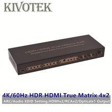 HDR 4K HDMI véritable commutateur matriciel 4x2 3D HD1080P Hdmi RCA optique sortie femelle connecteur AC3/DTS/LPCM pour vidéo HDTV PC livraison gratuite