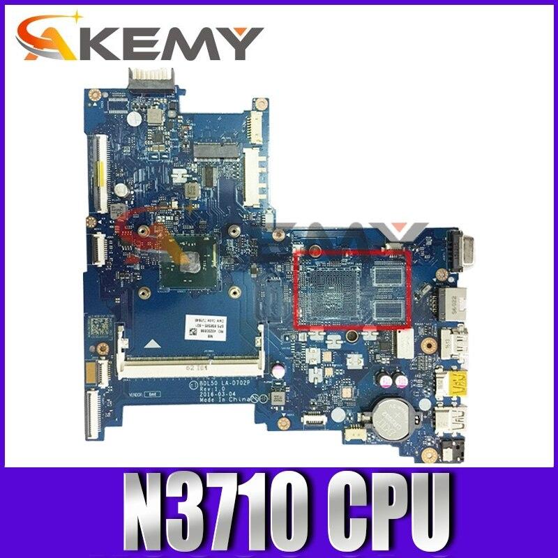 para hp Pavilion Trabalho de Teste Mainboard com N3710 Computador Portátil Placa-mãe 854948-601 854943-601 Bdl50 La-d702p 2.56ghz 100% 15-ay 250 g5