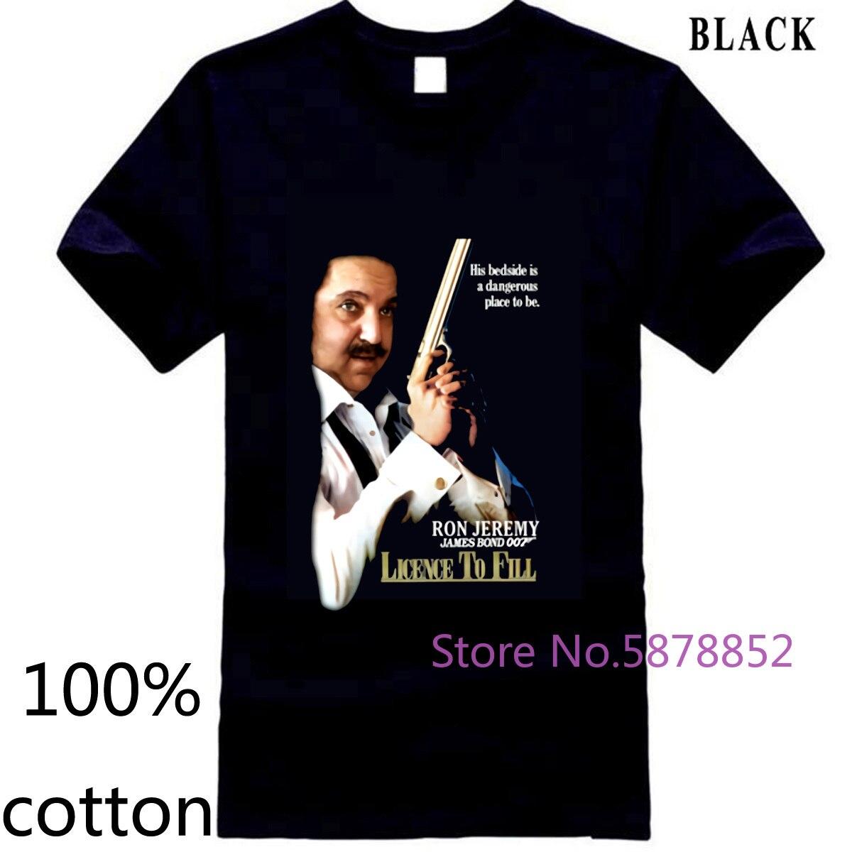 Ron Jeremy 007 licencia para llenar porno Cool hombres camiseta tops camisetas 100% algodón 3XL 4XL 5XL manga corta