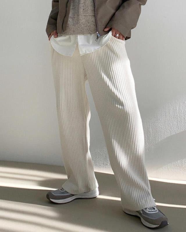 Мужские спортивные штаны для бега в стиле Харадзюку, свободные белые вельветовые брюки с широкими штанинами, уличная одежда, модные мужские...