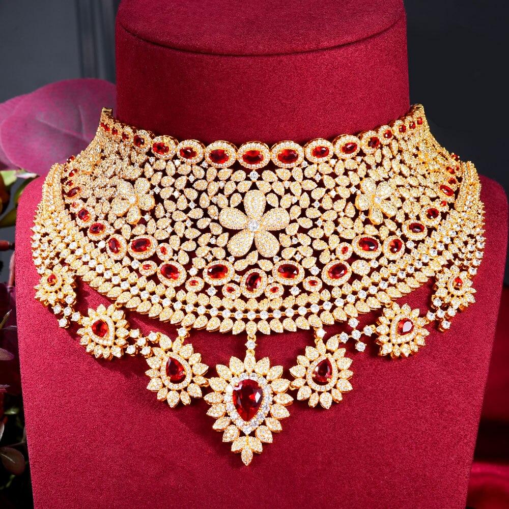 GODKI 110 مللي متر واسعة كبيرة فاخرة زهرة بوم المرأة المشاركة مكعب سلسلة مرصعة بحجر الزركون القرط أطقم مجوهرات دبي مجوهرات الإدمان