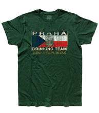 Mens T-Shirt Logo Prague Praha Drinking Team Antique Beer Beer