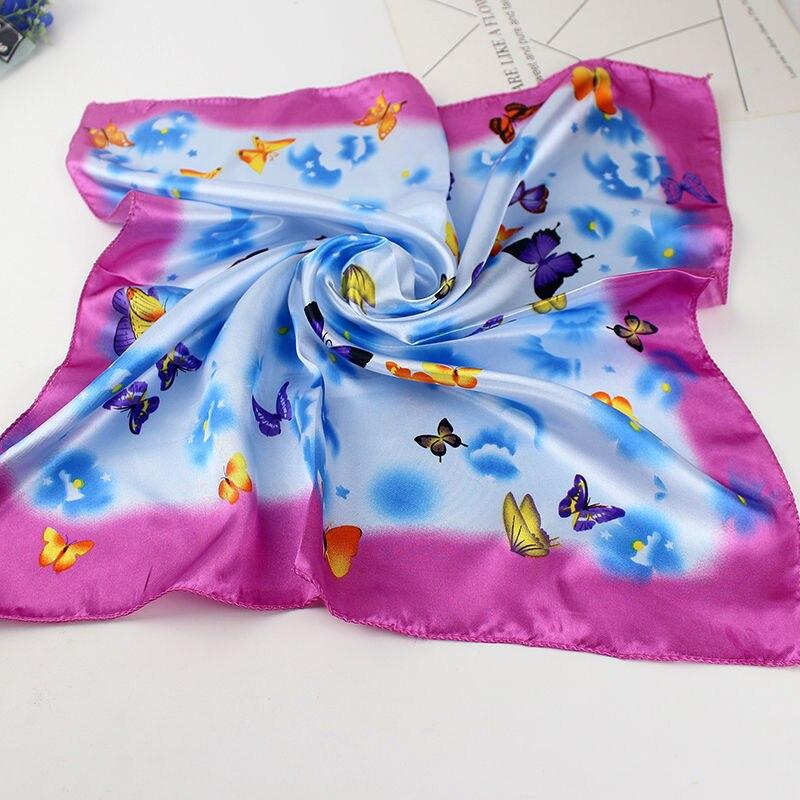 50*50cm bufanda de las mujeres de moda Primavera Verano rayas de seda cuadrado bufandas niñas impreso pañuelo Chiffon bufanda cuello accesorio