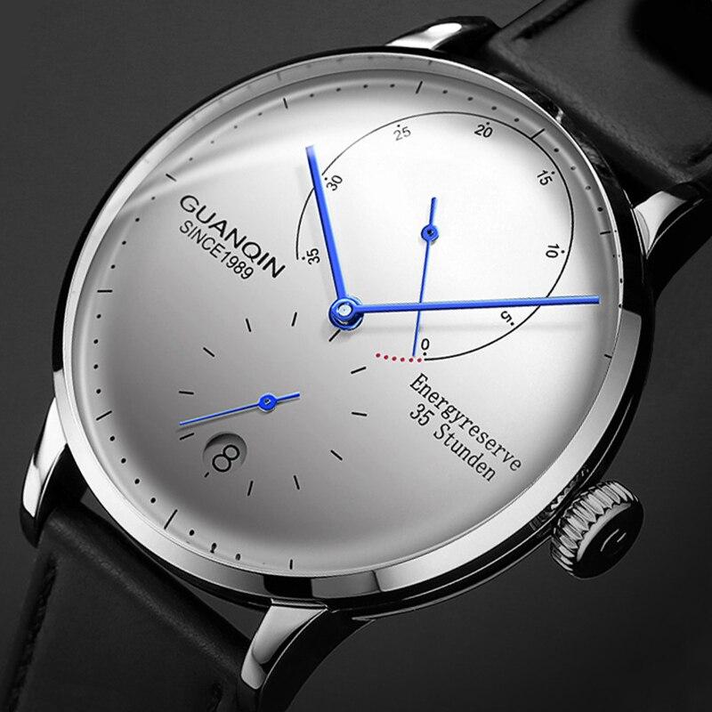GUANQIN ساعة ميكانيكية الرجال العلامة التجارية الفاخرة الشهيرة ساعة أوتوماتيكية الياقوت مقاوم للماء الأعمال تاريخ الموضة عرض احتياطي الطاقة
