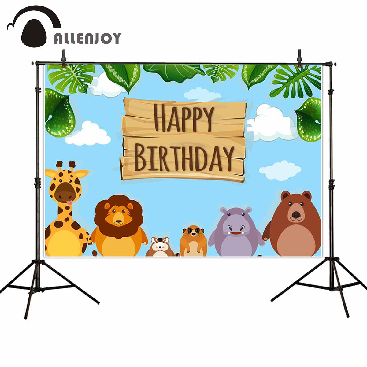 Allenjoy джунгли фотозвуки облака листья Жираф Лев медведь Бегемот белка мультфильм животных баннер детские товары для дня рождения