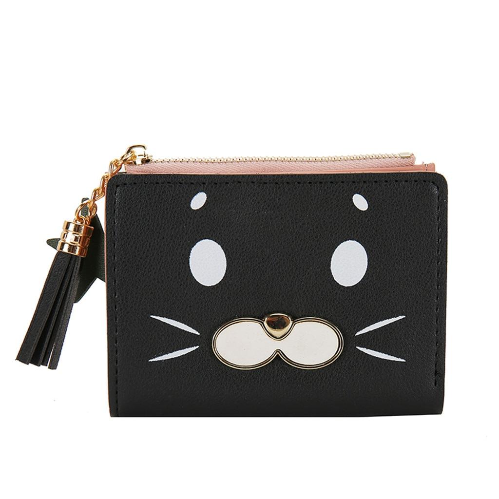 Aelicy 2020 Leather Card Holder Pocket Fashion Clutch Bag Tassel Mini Women Wallet Short Zipper Coin