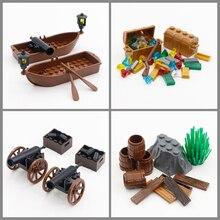 City Blocks piraci z karaibów akcesoria figurowe MOC cegły Cannon kuferek na skarby statek Gem średniowieczne zabawki modele kompatybilne