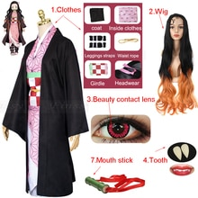Anime Demon Slayer Kimetsu no Yaiba Kamado Nezuko Full Cosplay Including Shoes Wig Tooth Mouth Stick