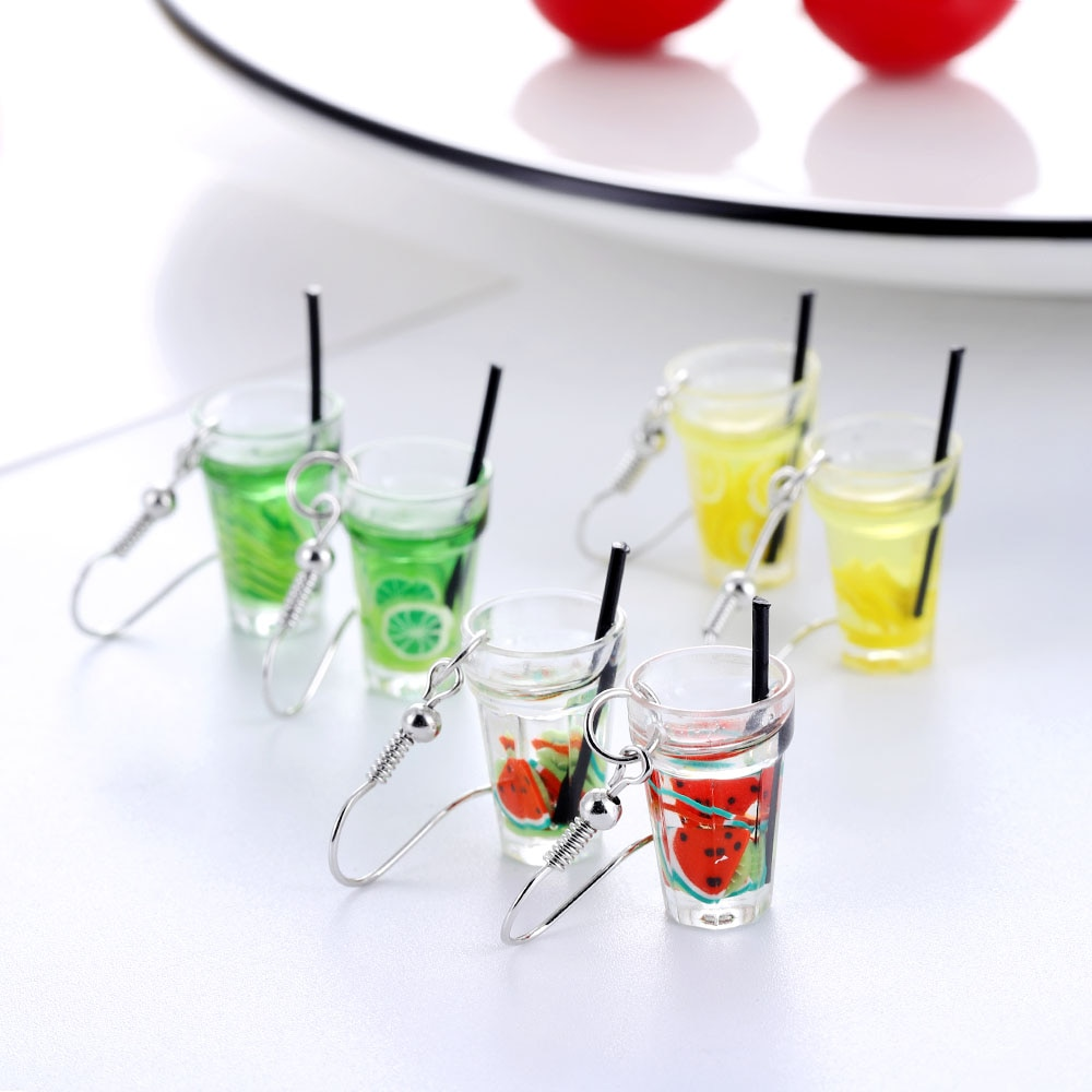 2020 модные креативные Забавные 3d фрукты лимон напиток чашка кулон серьги крючок капли воды Висячие женские ювелирные изделия подарок