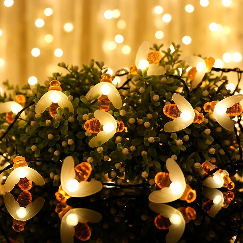 Фото - Cute Honey Bee LED String Lights Christmas Outdoor Garden Decoration Fairy Lights Garland Battery Powered Navidad New Year Decor christmas lights outdoor 5m 10m solar powered bee led decoration lights fairy lights christmas decor christmas decoration