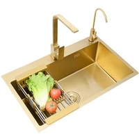 stainless steel brushed gold kitchen sink single bowl workstation sink with accesssories above counter rectangular sink 53x43cm