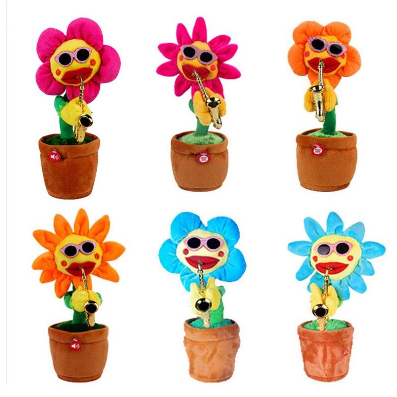 Электрические игрушки Пение и танцы цветок подсолнухи игра саксофон Забавный подарок