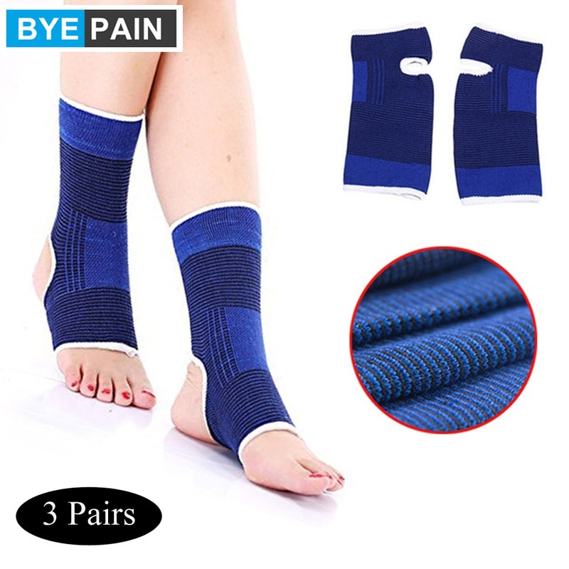3 Pairs Elastic Ankle Support Brace Compression Wrap Sleeve Sports Relief Pain Foot Care Blue