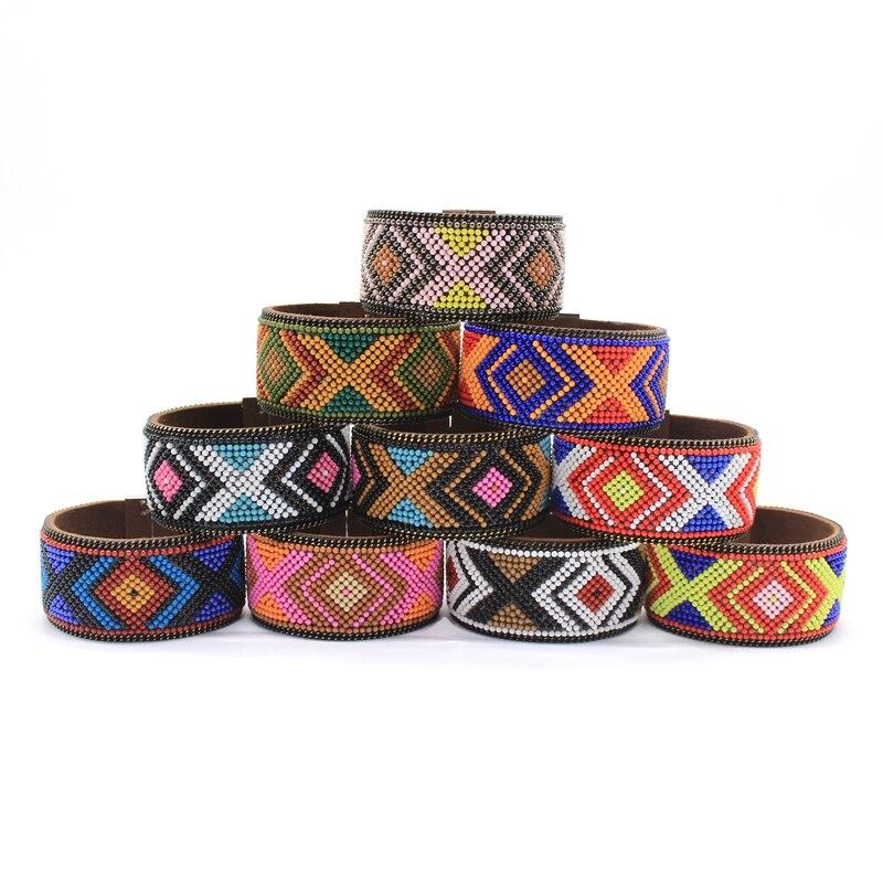 ¡Novedad de 2020! Pulseras con hebillas magnéticas étnicas, cuentas geométricas coloridas con diseños, pulsera de cuentas para mujeres, joyas bohomianas de cuero