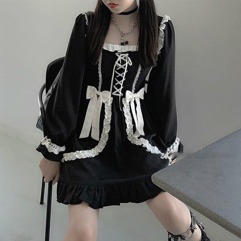 일본 로리타 고딕 드레스 소녀 패치 워크 빈티지 디자이너 미니 드레스 일본 스타일 Kawaii 의류 가을 드레스 여성 2020