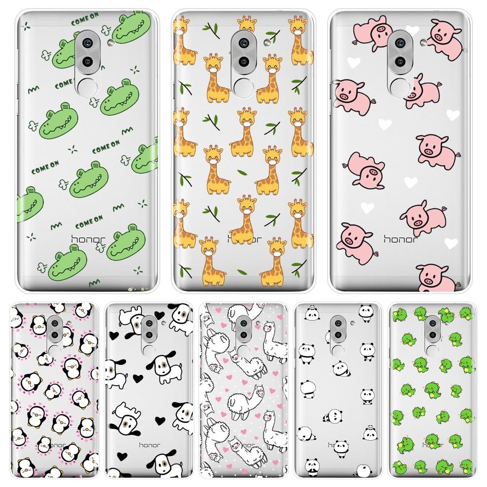 Capa traseira para huawei honor 6a 4c 5c 6c pro silicone macio rosa porco cachorro panda dinossauro telefone caso para huawei honor 4x 5a 5x 6 6x