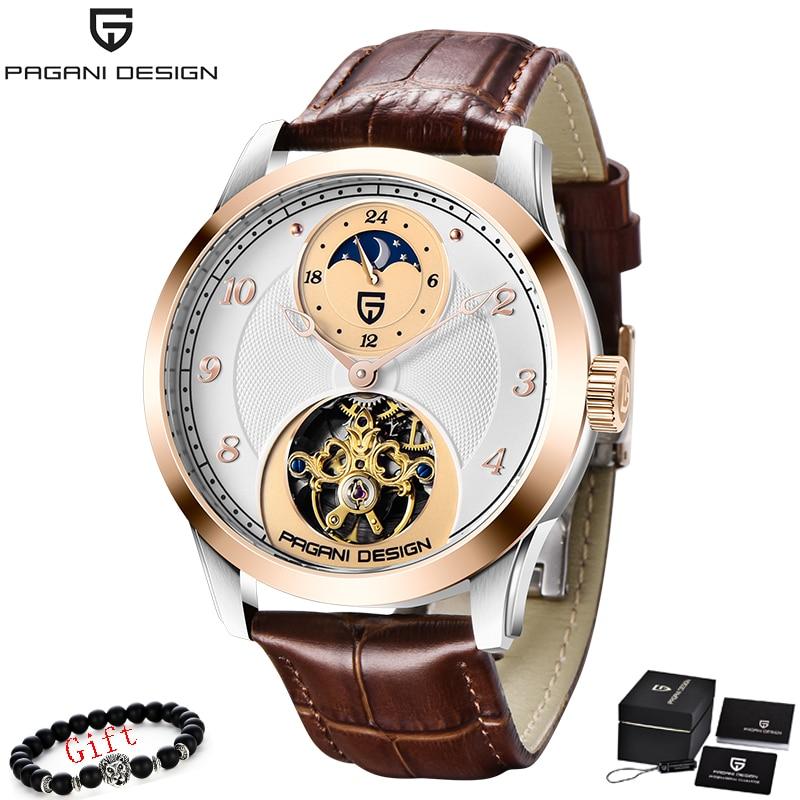 PAGANI 2020 New Skeleton Tourbillon Mechanical Watch Automatic Men Classic Gold Leather Mechanical Wrist Watches Reloj Hombre