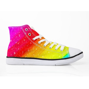 HaoYun Women Vulcanized Shoes Arts Rainbow Painting Pattern Ladies Casual Shoes Lace-Up High top Canvas Shoes Sneakers for Women