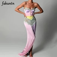 fakuntn bodycon maxi dress woman clothes robe sexy lace long dress high split backless elegant satin party dresses women 2021