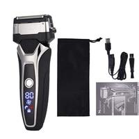 shaver machine electric razor men stainless steel shaver rechargeable trimmer shaver 3d floating shaving led display barbeador