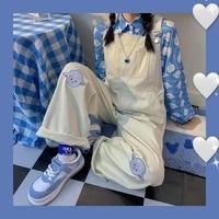 houzhou rompers womens jumpsuit embroidery loose straight kawaii denim overalls vintage oversize jeans korean fasion streetwear