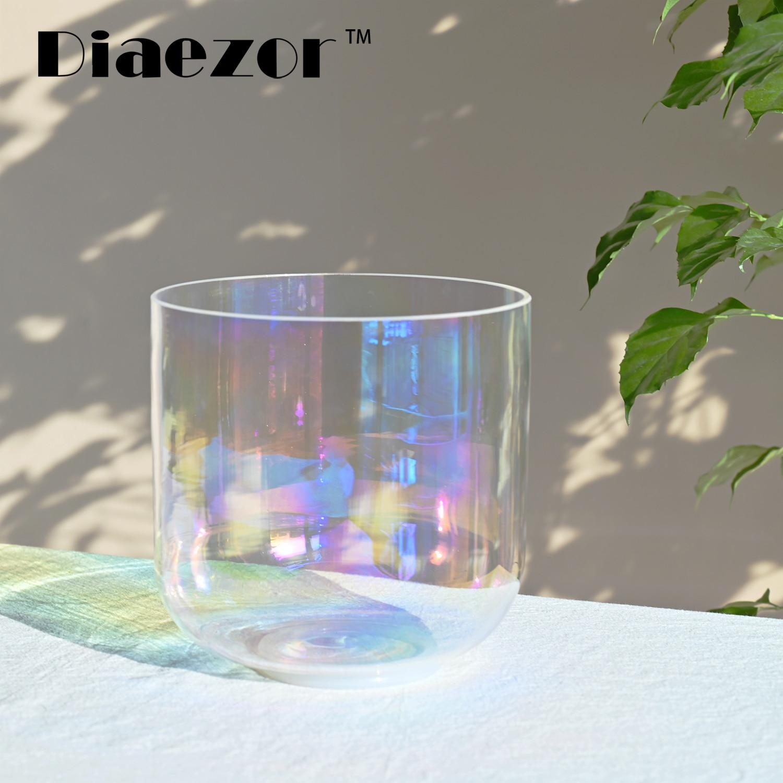Diaezor 8 Inch 440Hz or 432Hz Clear Chakra Cosmic light Alchemy Magic Quartz Crystal Singing Bowl for Healing Sacred Meditation enlarge