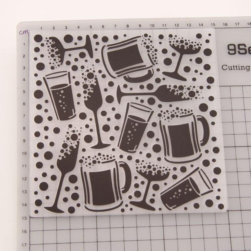 Copo de café copo de vinho padrão plástico gravando pasta para cartão scrapbooking álbum de fotos papel que faz o molde do modelo do ofício