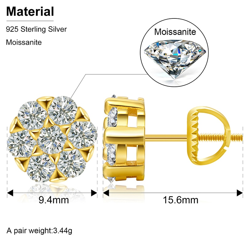 2021 Fashion Bling Moissanite Earrings Top Quality 100% 925 Sterling Silver For Men's Women Earring Charm Jewelry Drop Shipping