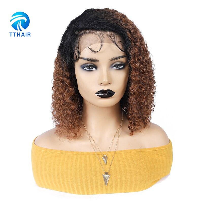 tthair curto bob 1b30 brazlian remy curly13x4 frente do laco perucas de cabelo humano para preto