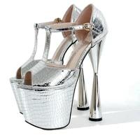 summer gold sandals 20cm high heeled buckle pumps ladies shoes woman stripper stilettos platforms steel pipe dance sandalias