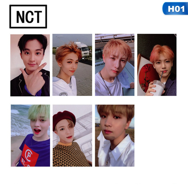 KPOP NCT U 127 de 2018 empatía álbum Taeyong Mark hecho por autógrafo Photocard de tarjetas de papel de cartel 7 unids/set
