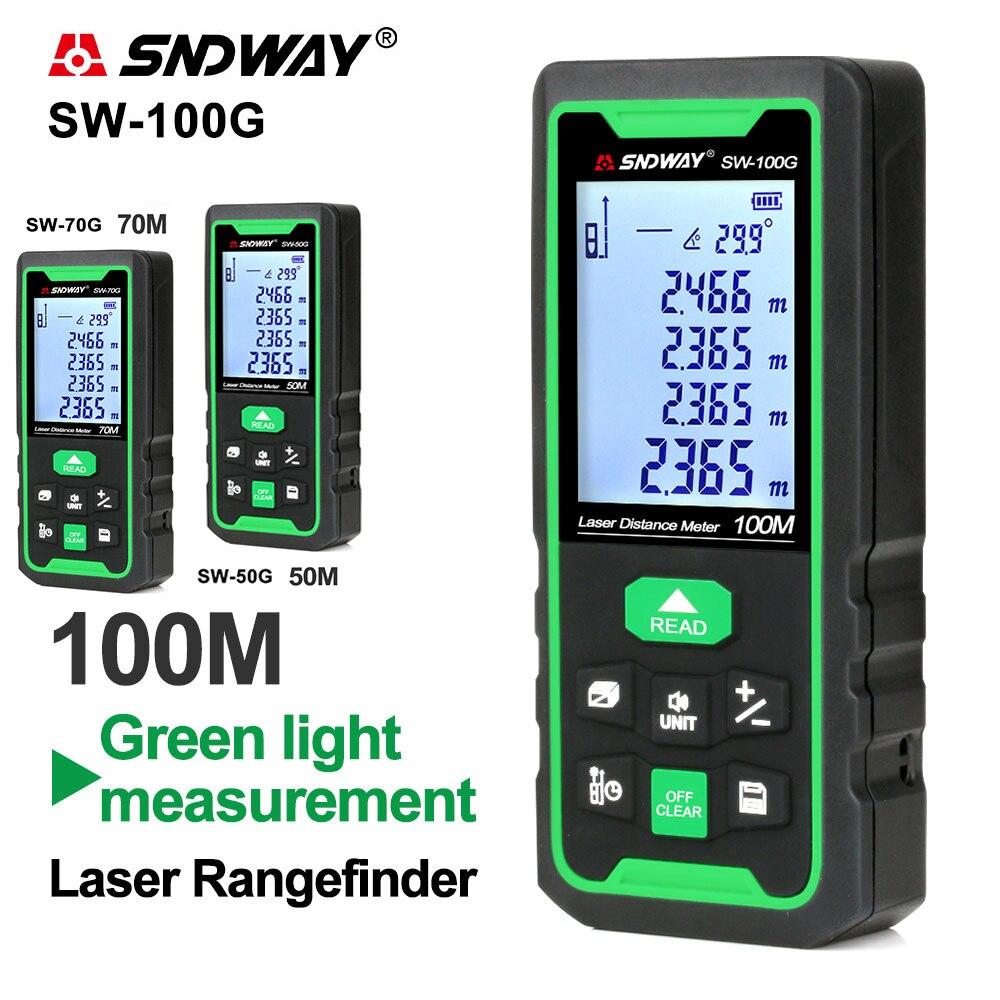 Medidor de distancia láser SNDWAY, telémetro Digital verde, 100m, 70m, 50m, cinta...