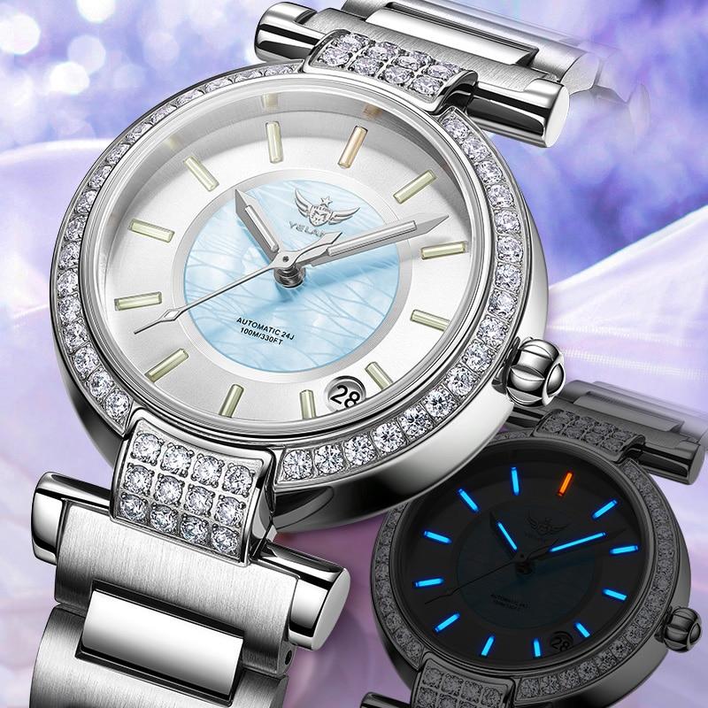 Yelang Women Automatic Watch Tritium Light T100 24Jewels Japan Top Movement Czech Rhinestone Date Diver Watch Waterproof100m