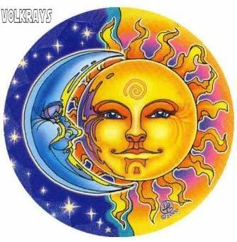 """Volkrays moda adesivo de carro mandala artes """"reflexões"""" sun & moon acessórios reflexivo decalque vinil à prova dwaterproof água, 10cm * 10cm"""
