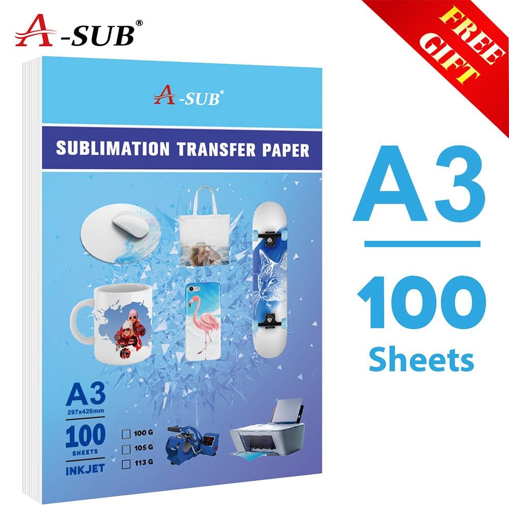 Papel de transferencia térmica de sublimación de inyección de tinta 100 hojas A3 para cualquier impresora de inyección de tinta con tinta de sublimación 100 hojas tamaño de la letra