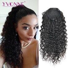 Yvonne italiano encaracolado cordão rabo de cavalo grampo de cabelo humano em extensões cabelo virgem brasileiro cor natural 1 peça