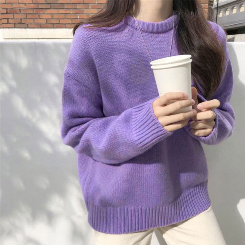 ZOTTSOZ Jumpers Casual Hip Hop Harajuku Korean Knitted Solid Color Sweater Pullovers Women 2021 Fashion Streetwear Knitwear Tops