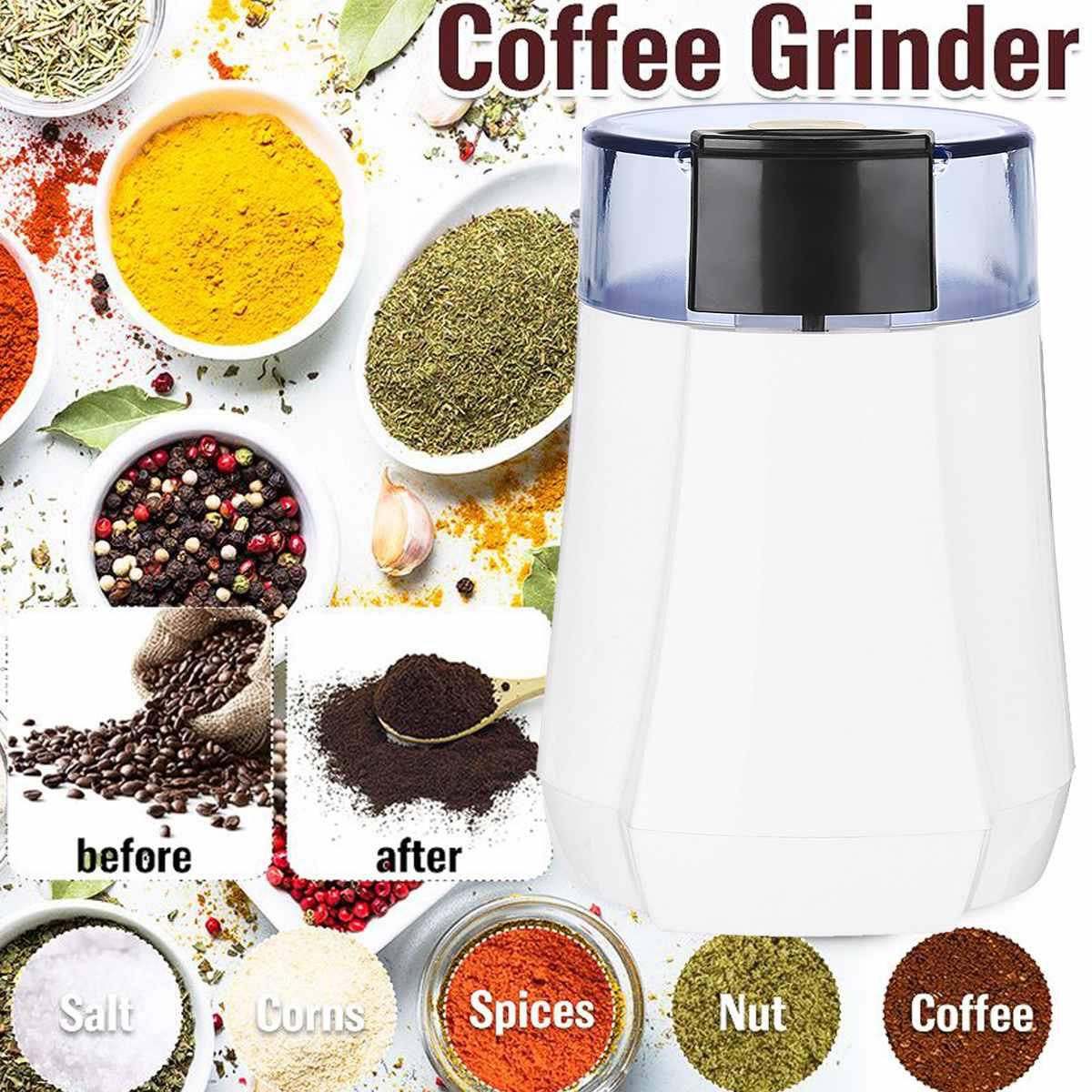 طاحونة القهوة الكهربائية 130 واط مع التيتانيوم المغلفة شفرات 70 جرام قدرة حاوية من الصلب سهلة التنظيف