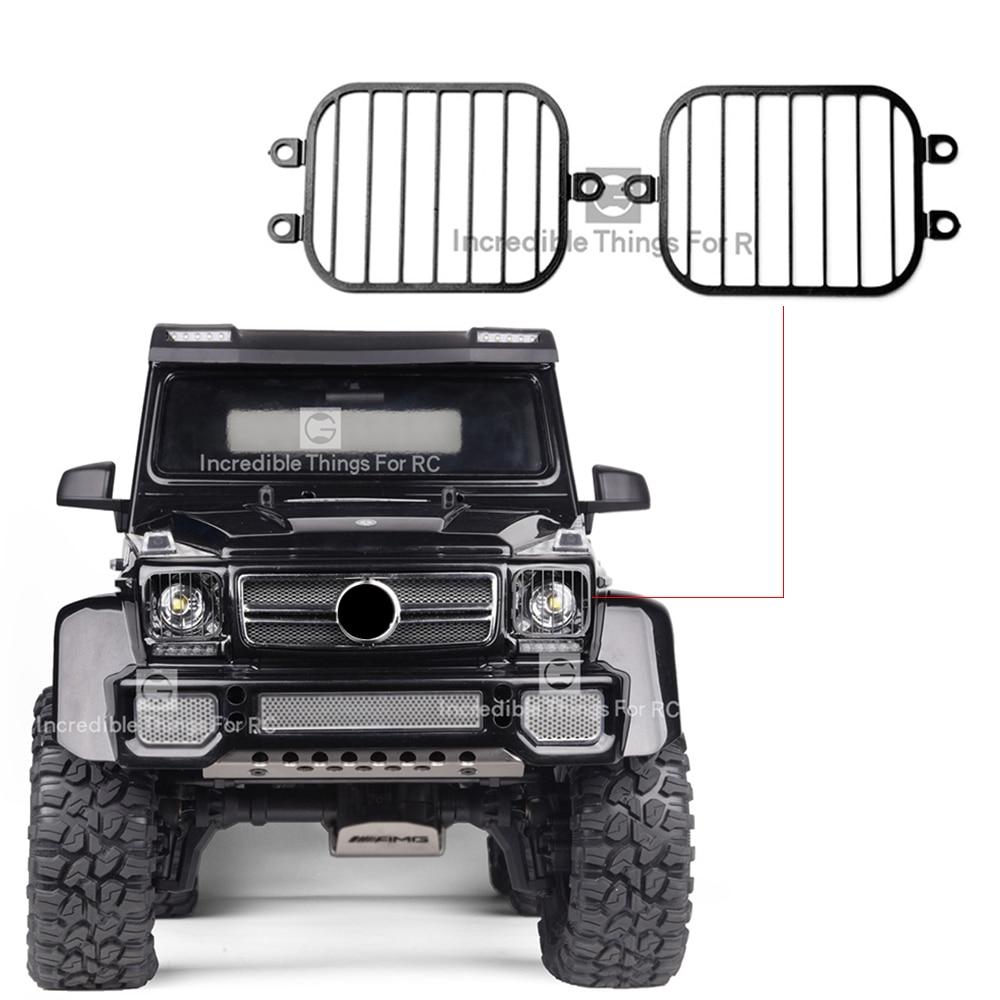 1 par de Metal pantalla de luz delantera para 1/10 coche trepador de control remoto Traxxas TRX6 6X6 G63 TRX4 G500 OP accesorios parte
