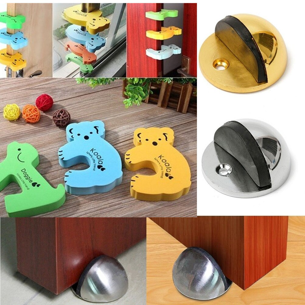 Cartoon Key Zinc Alloy Rubber Non Punching Sticker Hidden Door Holders Catch Floor Mounted Nail-free Door Stop Door Hardware