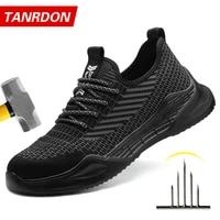 high quality men work safety shoes puncture proof anti smashing work boots breathable lightweight steel toe shoes for men